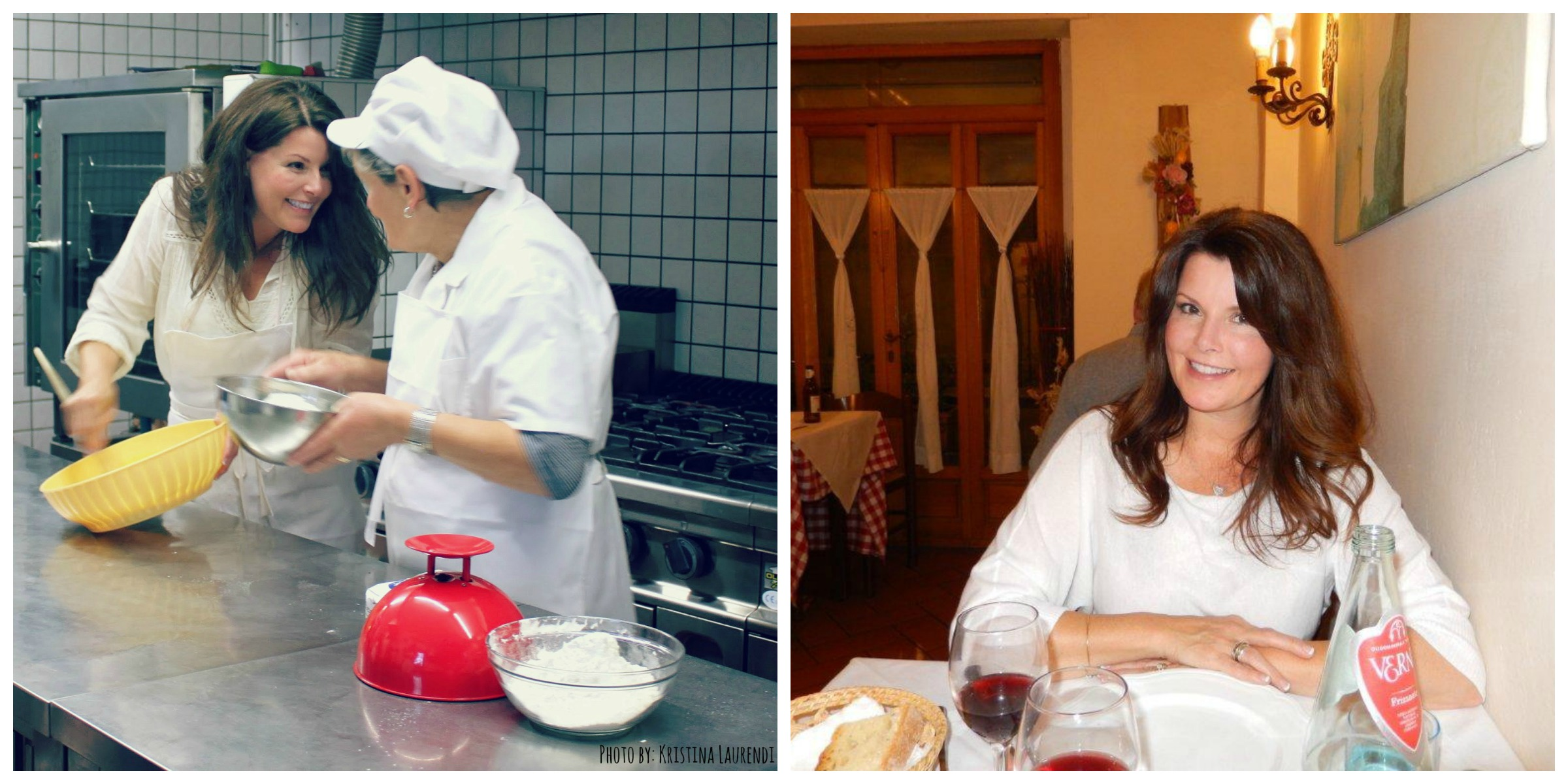 Chef Ana and Me.  Making Crostata // Me in my place among plates of Tuscan cuisine