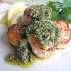 Mixed Herb Italian Salsa Verde Over Seared Sea Scallops
