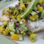 Mango Cilantro Avocado Salsa over Grilled Halibut