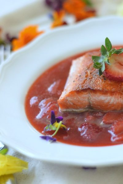 Grilled Salmon with a Savory Strawberry Sauce