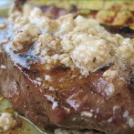 Grilled New York Strip With Garlic Gorgonzola Butter