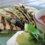 Grilled Portabella and Sweet Banana Pepper Quesadillas with Fresh Cilantro and Pepper Jack Cheese