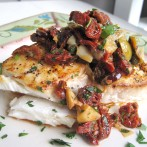 Grilled Halibut with a Mediterranean Sun Dried Tomato Relish