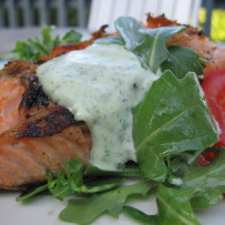 Grilled Salmon with Arugula and Lemon Mayonnaise