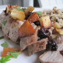 Roast Pork Tenderloin Stuffed with Apples, Cranberries and Shallots