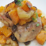 Spicy Roasted Chicken Breasts with Butternut Squash, Apples, Raisins and Shallots