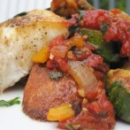 Roasted Ratatouille with Fresh Herbs served over Toasted Baguette Slices