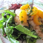 Italian Parsley Vinaigrette with Mandarin Oranges over Halibut and Mixed Greens