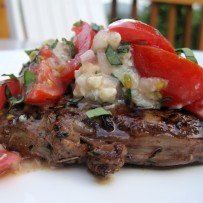 Tomato Gorgonzola Vinaigrette over Grilled Beef Tenderloin