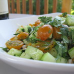 Cherry Tomato, Cucumber and Spring Onion Salad… and a trip to San Juan Island Farmer's Market!