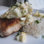 Garam Masala Crusted Fish with Cucumber Mango Raita and Coconut Rice