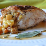 Brie and Apple Stuffed Chicken with Apple Cider Pan Sauce