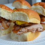 Superbowl Sliders!  Asian Marinated Pork Tenderloin Sliders with Sauteed Sweet Onions and Hot Mustard