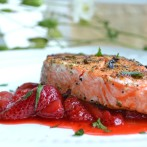 Savory Strawberry Sauce with Grilled Salmon