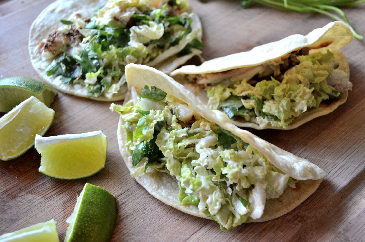 Halibut Tacos with spicy slaw