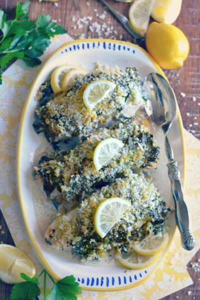 White Fish Florentine with DaVinci Pinot Grigio