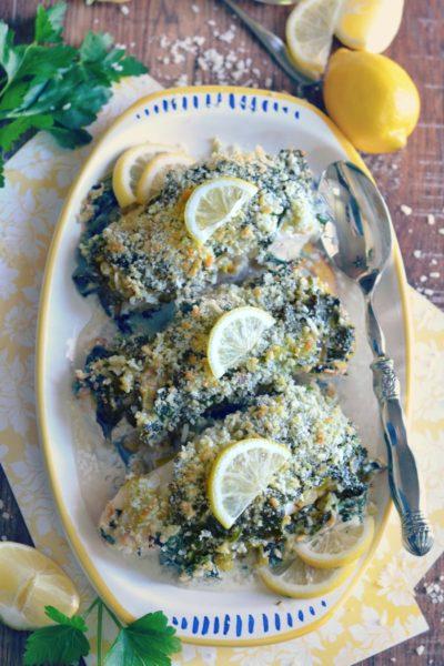 White Fish Florentine with DaVinci Pinot Grigio