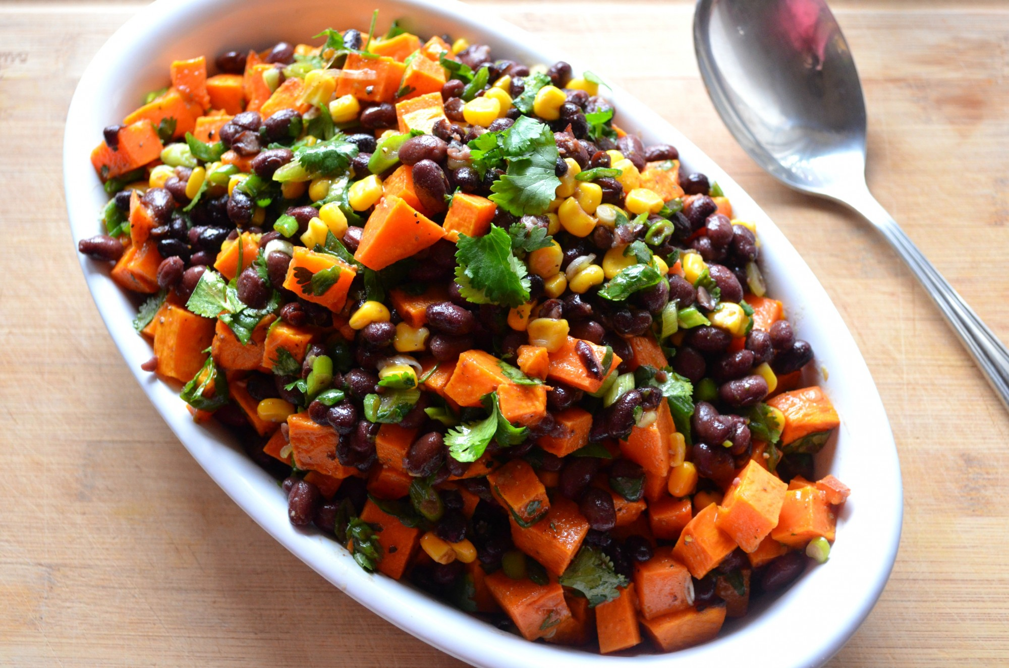 Black beans, sweet potatoes, lime vinaigrette