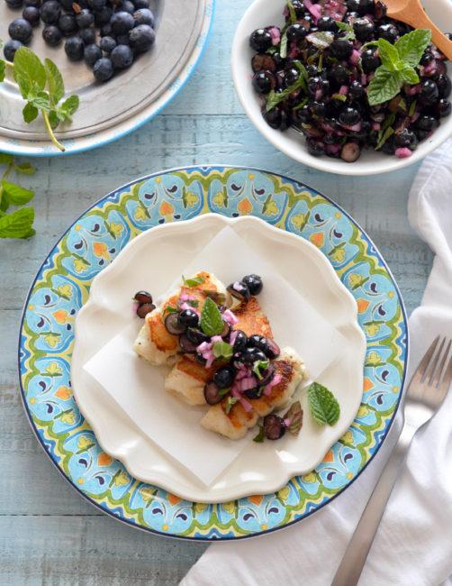 Blueberry Ginger Salsa over Halibut // Karista's Kitchen