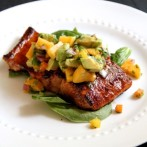 Sugar-Crusted Salmon with Avocado Peach Salsa… a Guest Post by Alaska From Scratch