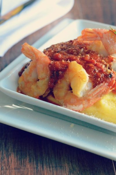 spicy tomato sauce with pan seared shrimp over polenta