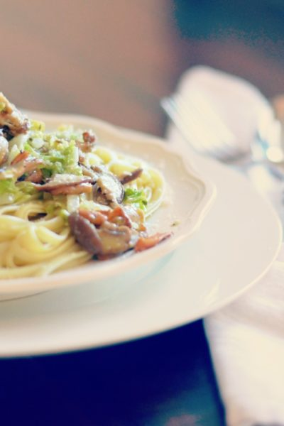 linguine with napa cabbage and mixed mushrooms drizzled with truffle oil