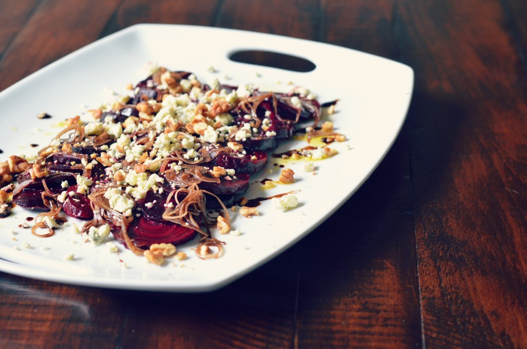 roasted beet salad with gorgonzola and candied walnuts