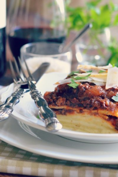 Tuscan style lasagna with bechamel and sugo