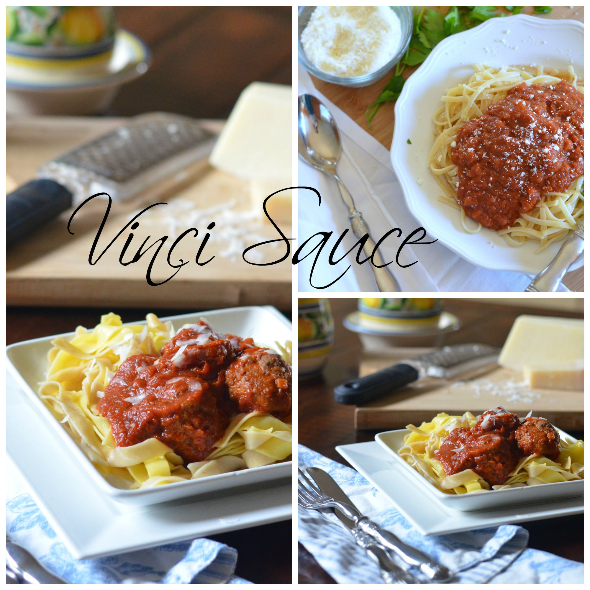 Vinci tomato sauce and meatballs collage