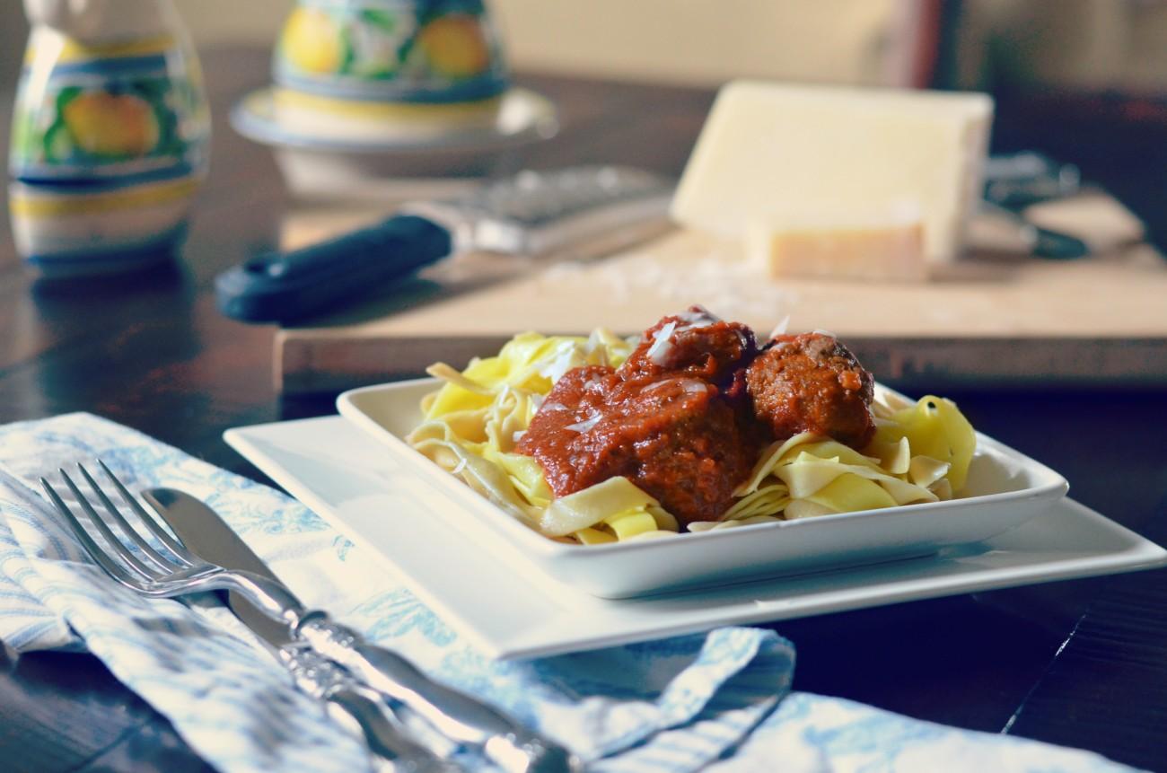 Tomato sauce prepared with DaVinci Chianti over Italian Meatballs/Karista's Ktichen