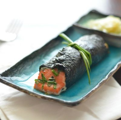 Nori wrapped salmon with fresh herbs, dijon and wasabi