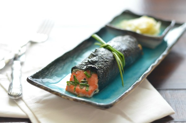 Nori wrapped salmon with fresh herbs, dijon and wasabi