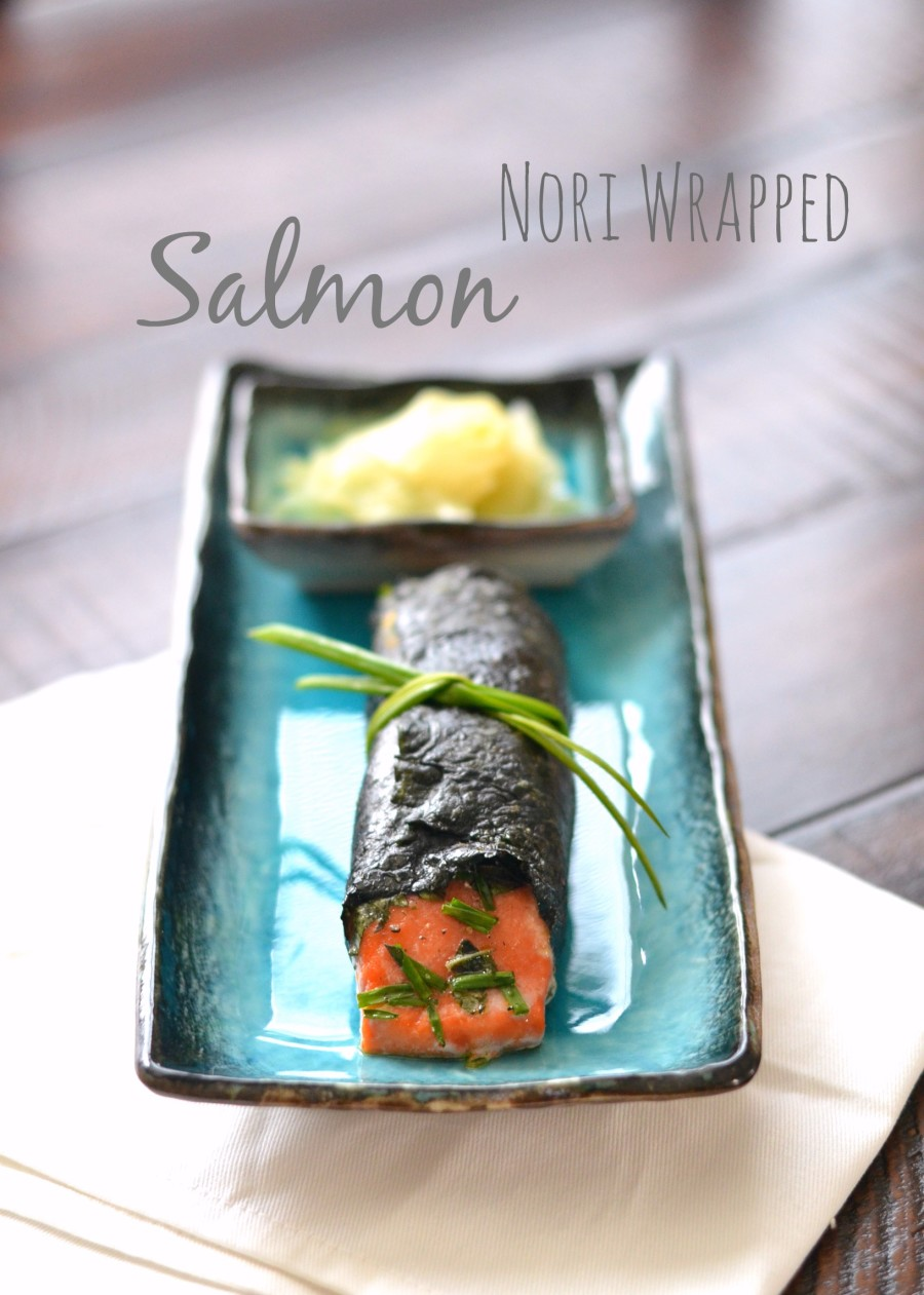 Nori wrapped salmon with fresh herbs, Dijon, and wasabi