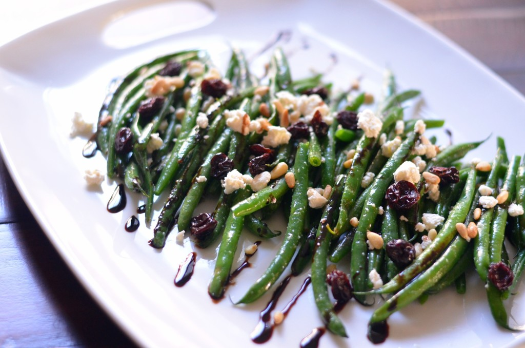 Green Bean and Smoked Goat Cheese Salad with Dried Cherries and Toasted Pine Nuts