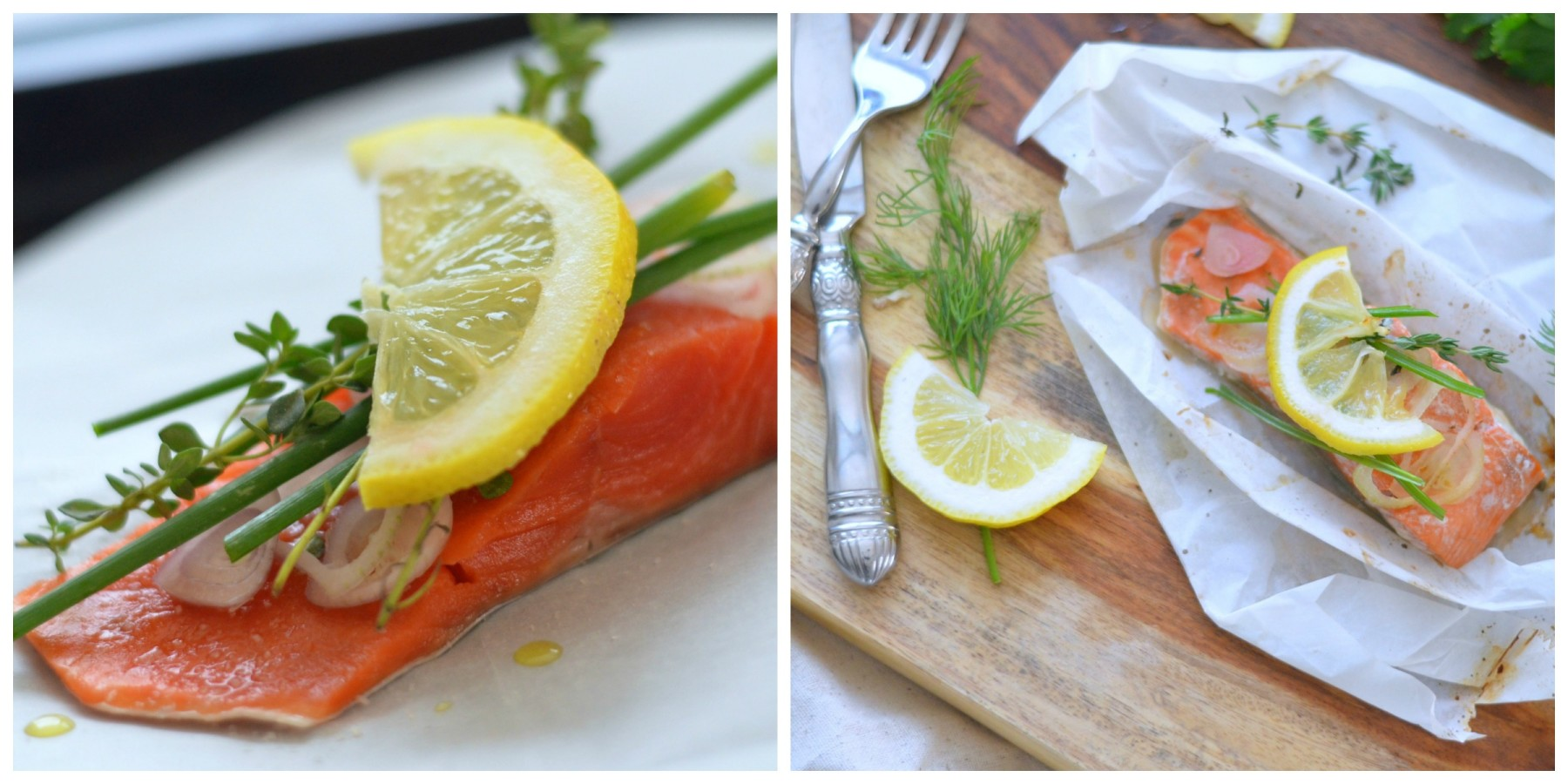 Salmon en Papillote before and after roasting