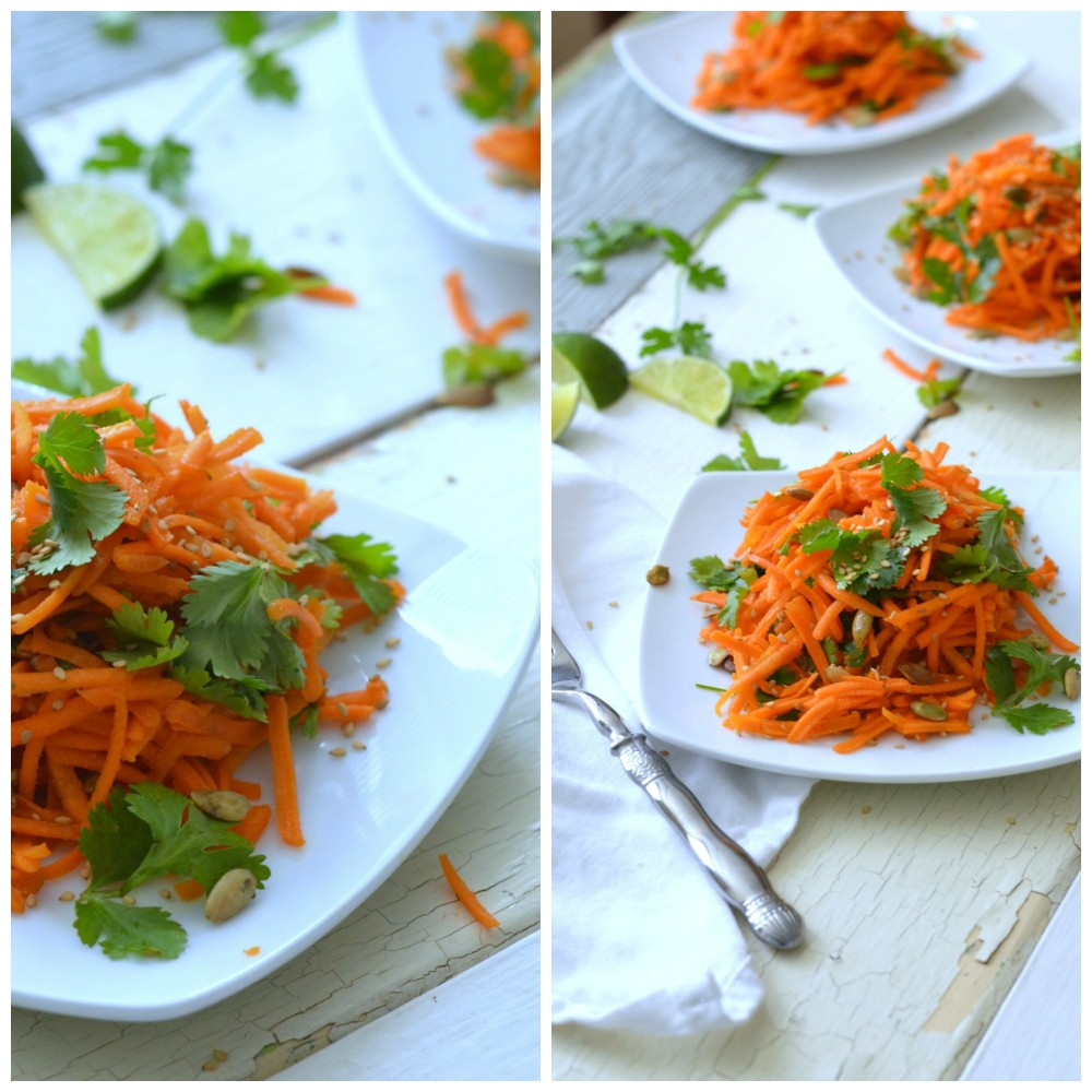 Carrot Cilantro Salad with Ginger Peanut Dressing and Sesame and Pumpkin Seeds