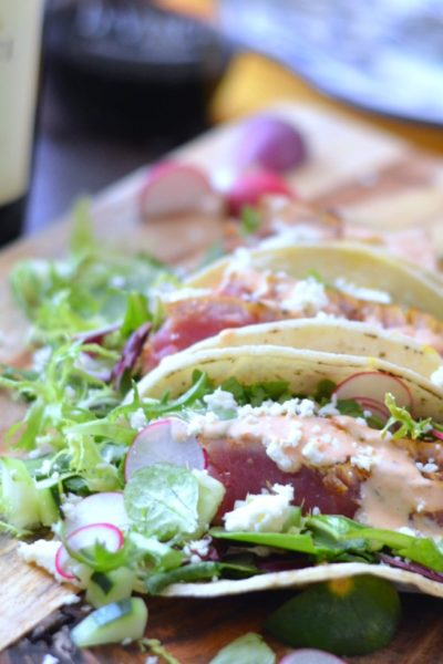 Seared Ahi Tuna Tacos with Radish and Cucmber Salad and DaVinci Chianti