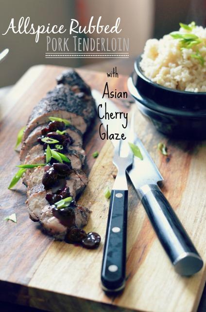 Allspice Rubbed Pork Tenderloin with an Asian Cherry Glaze and Coconut Rice