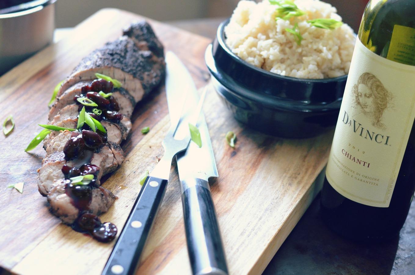 Allspiced Rubbed Pork Tenderloin with an Asian Cherry Glaze over Coconut Rice