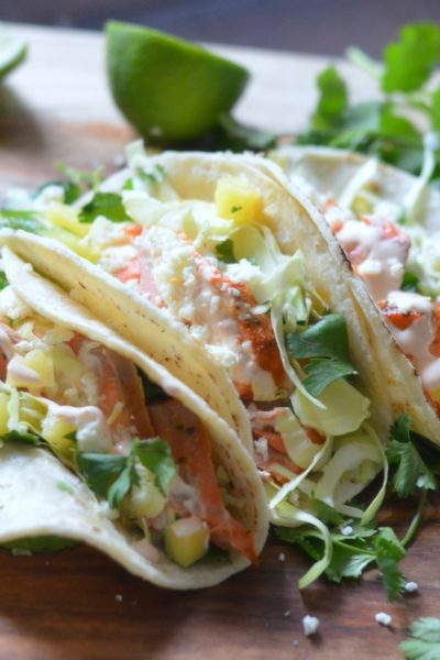 Grilled Salmon Tacos with Chipotle Lime Crema and Cilantro Slaw