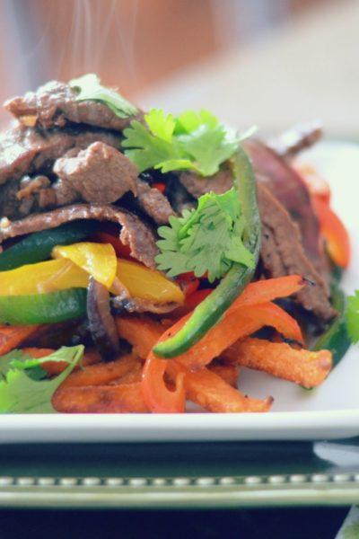 Lomo Saltado Peruvian Beef Stir Fry with Sweet Potato Fries