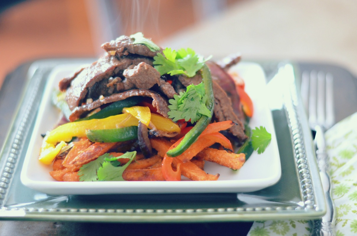 Lomo Saltado Peruvian Beef Stir Fry with Sweet Potato Fries