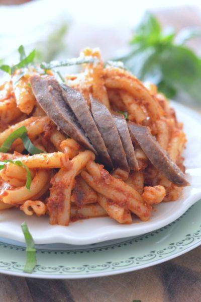 No cook Sun Dried Tomato Sauce over Pasta