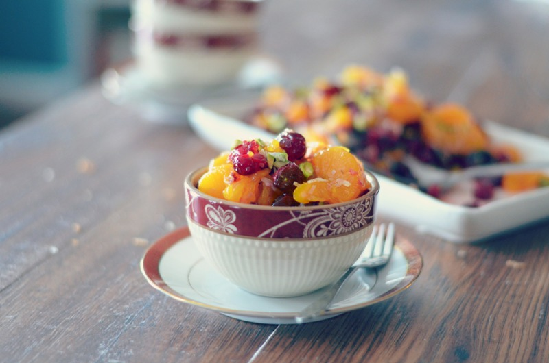 Roasted Cranberry and Mandarin Salad with Pistachos and Toasted Coconut