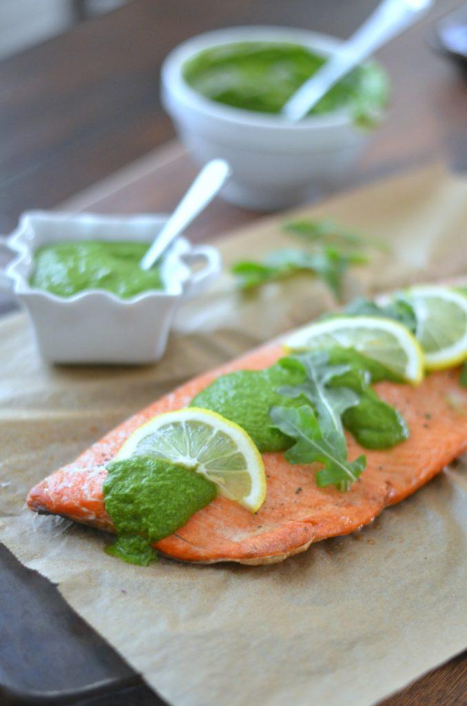 Salmon with Arugula Chimichurri // Karista's Kitchen