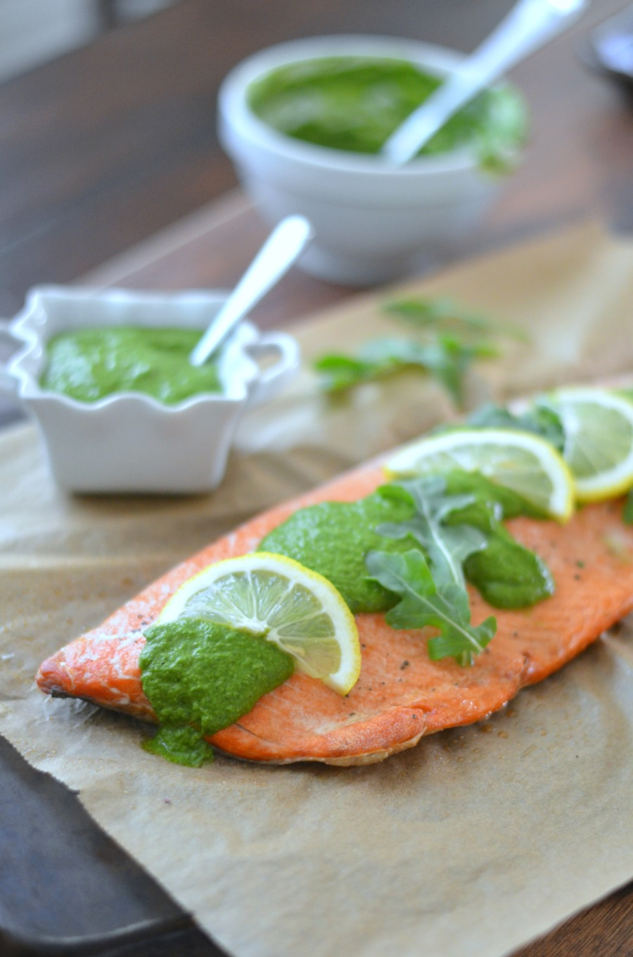 Salmon with Arugula Chimichurri // Karista's Kitchen