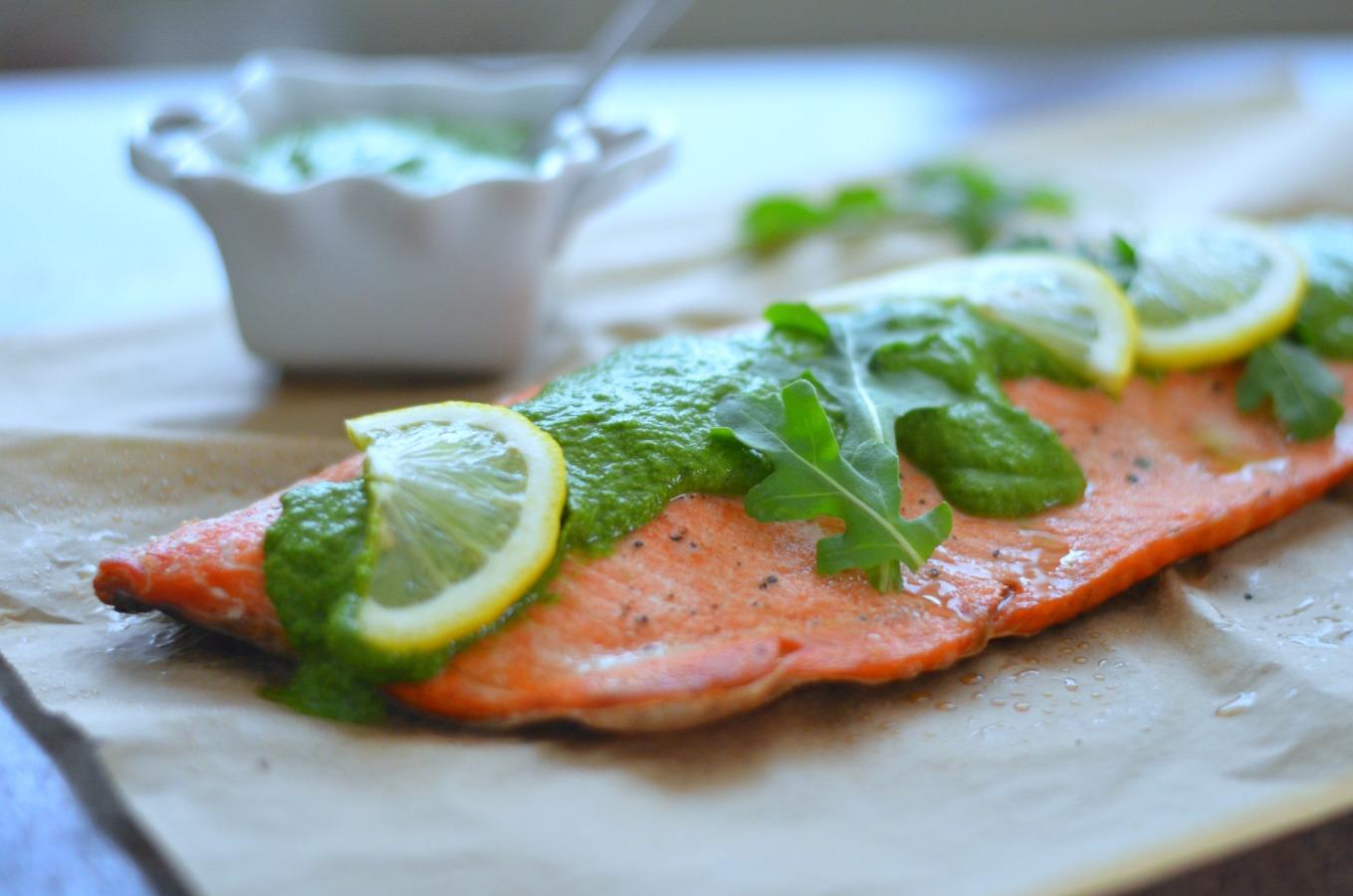 Salmon with Arugula Chimichurri