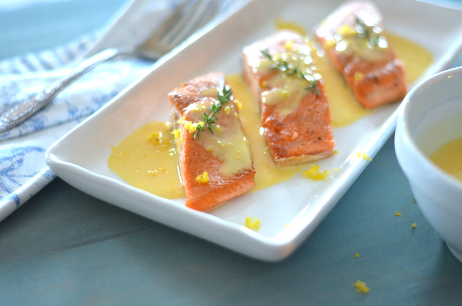Meyer Lemon Beurre Blanc over Salmon // Karista's Kitchen