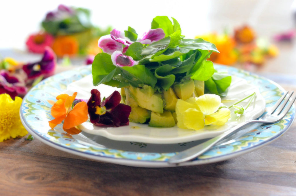 Avocado Watercress Salad with Edible Flowers // Karista's Kitchen