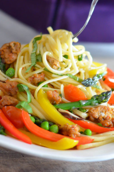 Isernio's Ground Chicken Pasta Primavera with red and green peppers, peas, asparagus fresh basil and light cream sauce // Karista's Kitchen